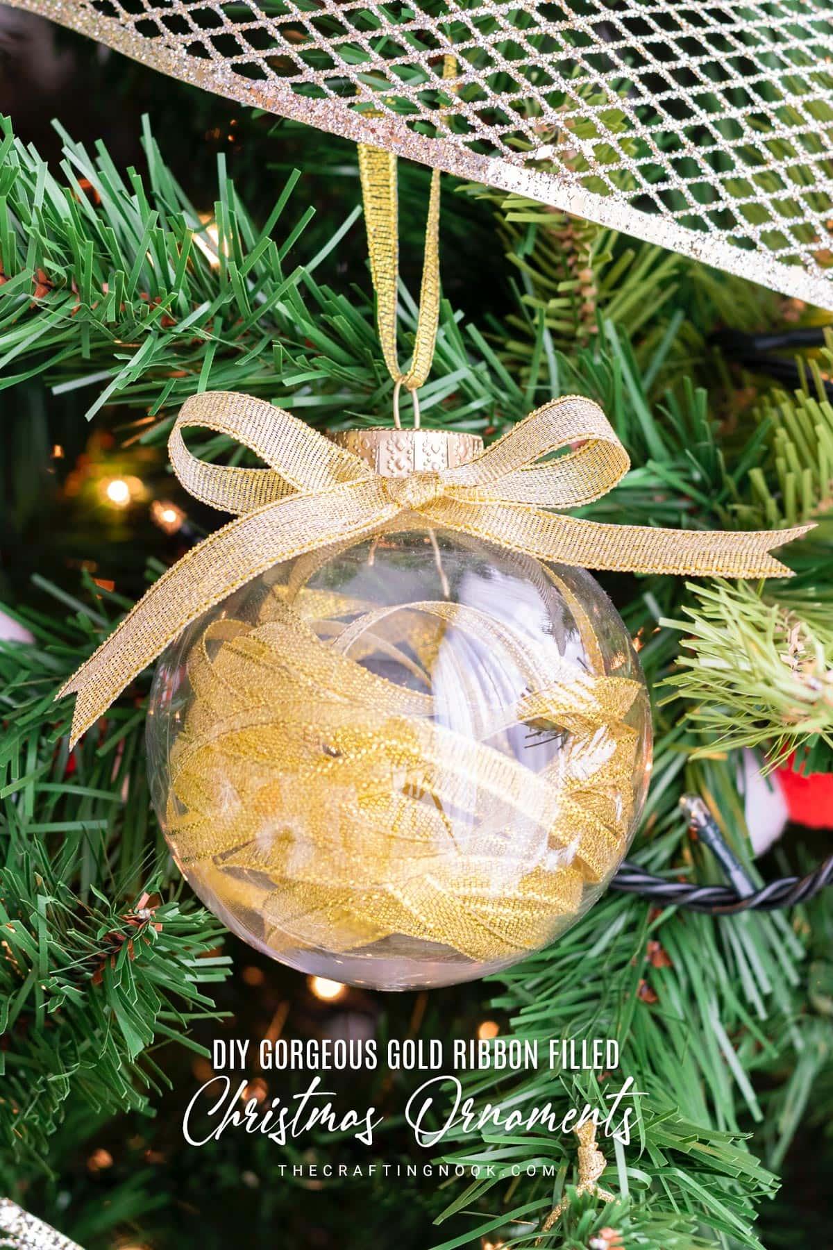 DIY Gold Ribbon Filled Christmas Ornaments