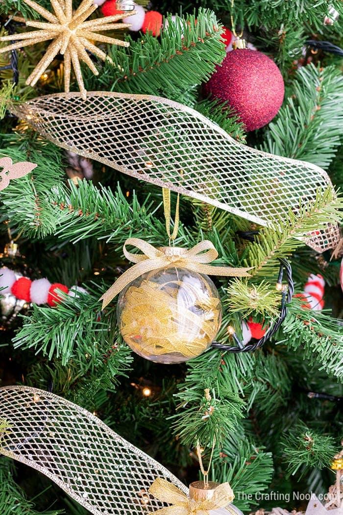 DIY Easy Gold Ribbon Filled Christmas Ornaments
