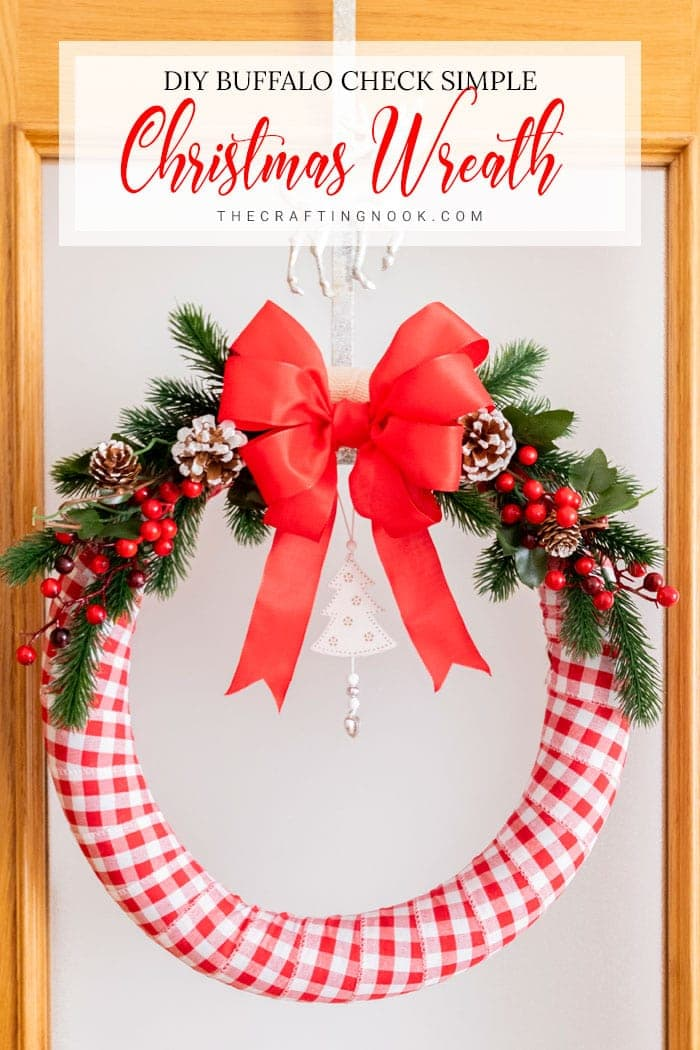 This Buffalo Check Traditional and Simple Holiday Wreath it's so crazy easy to make and looks so festive and beautiful on the door.