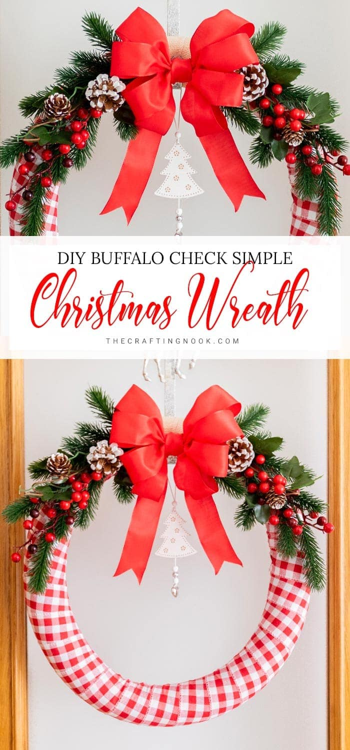 Create a gorgeous holiday wreath with ribbon, christmas springs and a pretty bow!