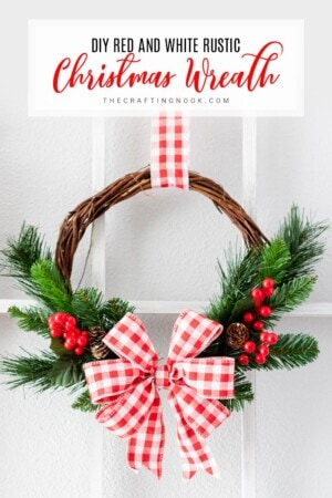 DIY Red and White Rustic Christmas Wreath