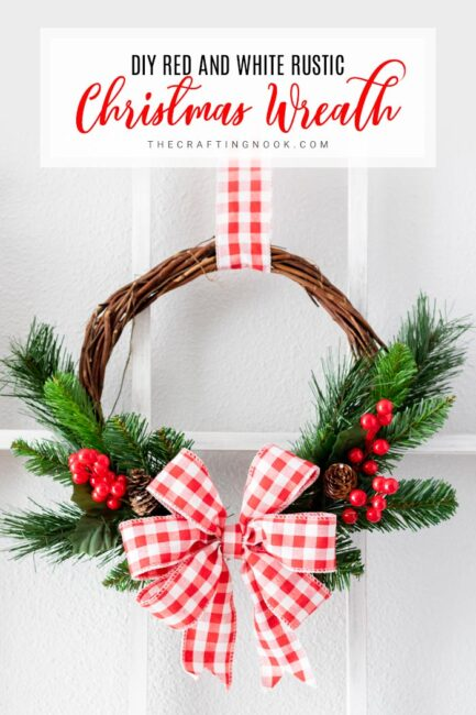 DIY Red and White Rustic Holiday Wreath