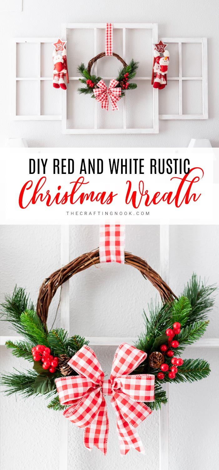 Red and White Rustic Wreath is quick and easy to make.