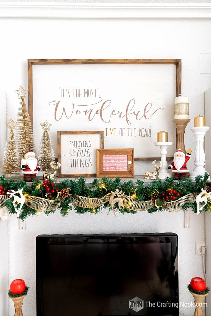 Rustic Red and Gold Holiday Mantle