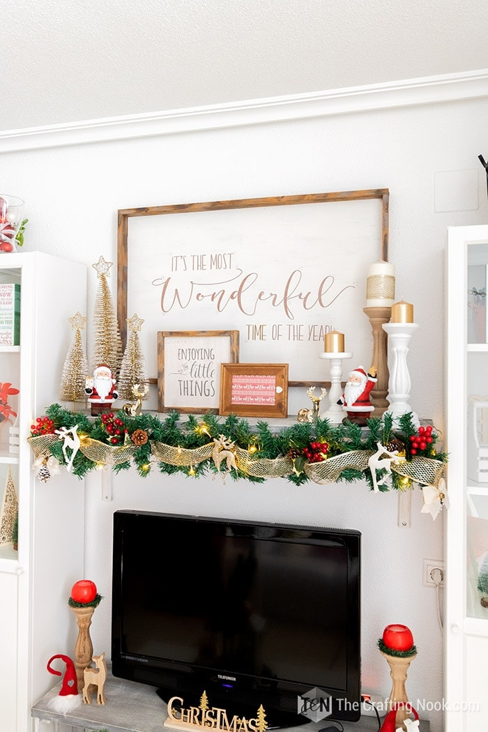 Red and Gold Rustic Elegant Mantel