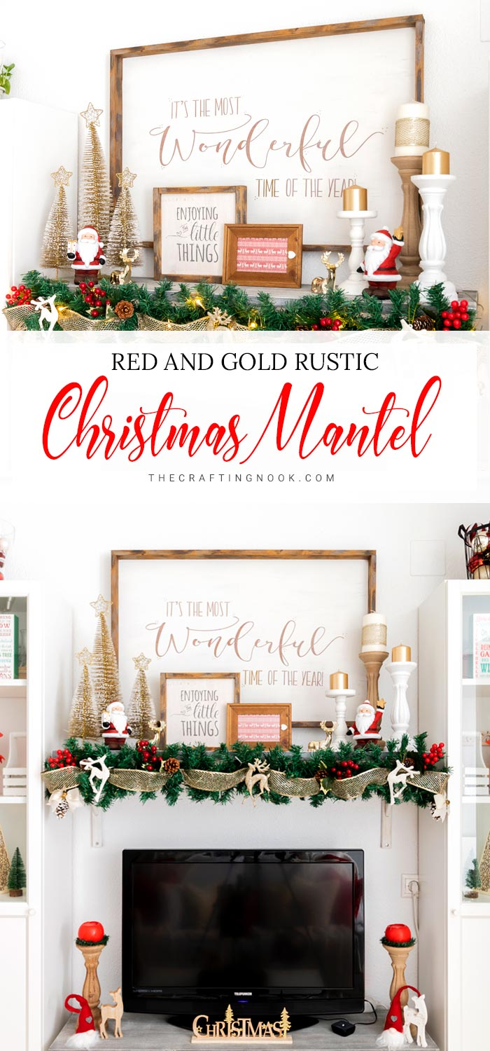 Red and Gold Elegant Christmas Mantel