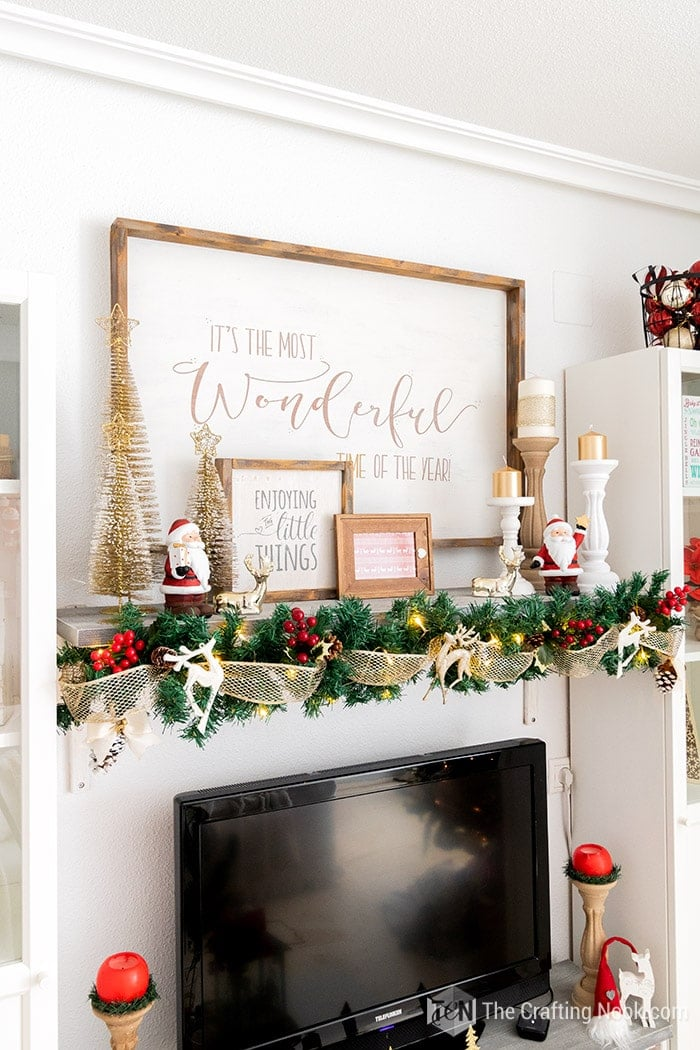 Red and Gold Christmas Mantel