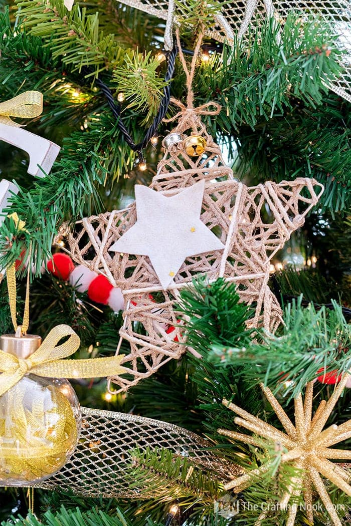 Twine and yarn rustic star ornament