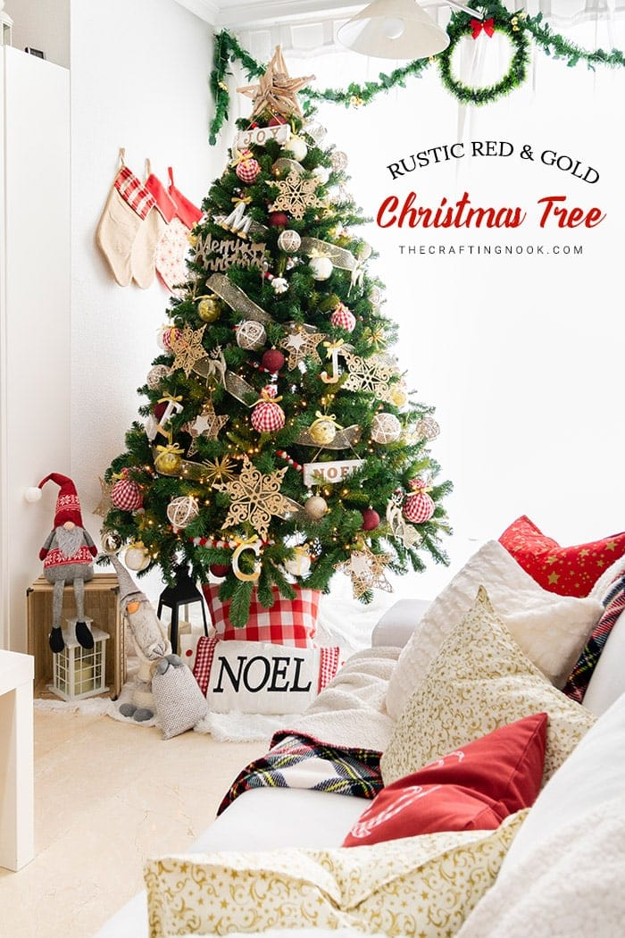 Rustic Red and Gold Christmas Tree