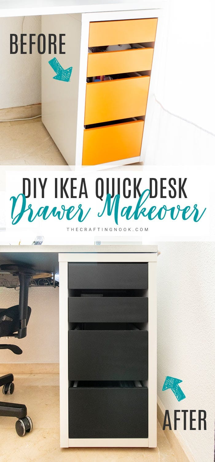 Pin this Easy Ikea Desk Drawer Makeover idea