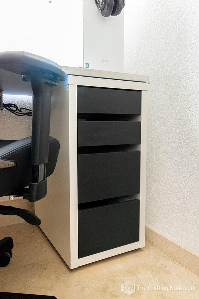 Easy Ikea Desk Drawer Tranformation Black painted