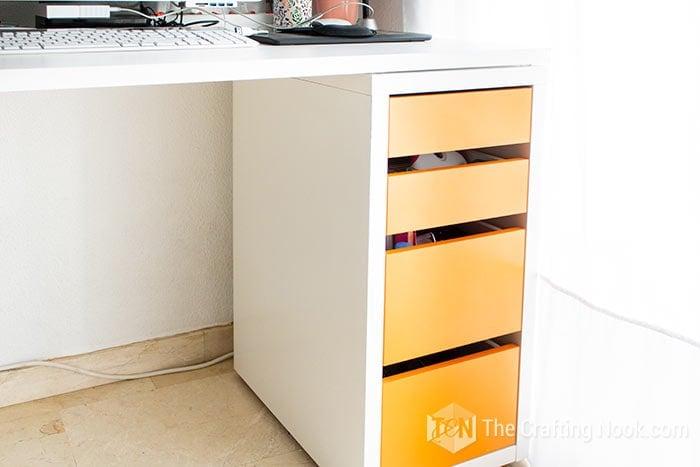 From orange drawer to Black drawer