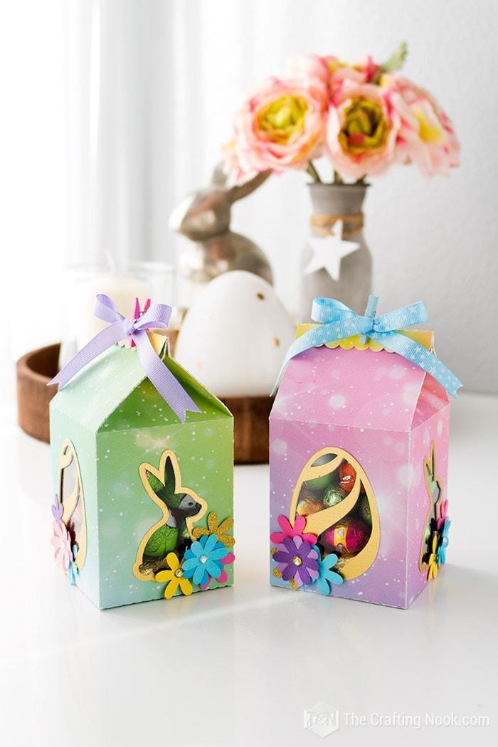Pair of Milk Carton Easter Favor Boxes