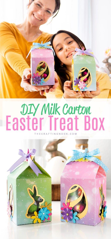 DIY Milk Carton Easter Favor Box Gift