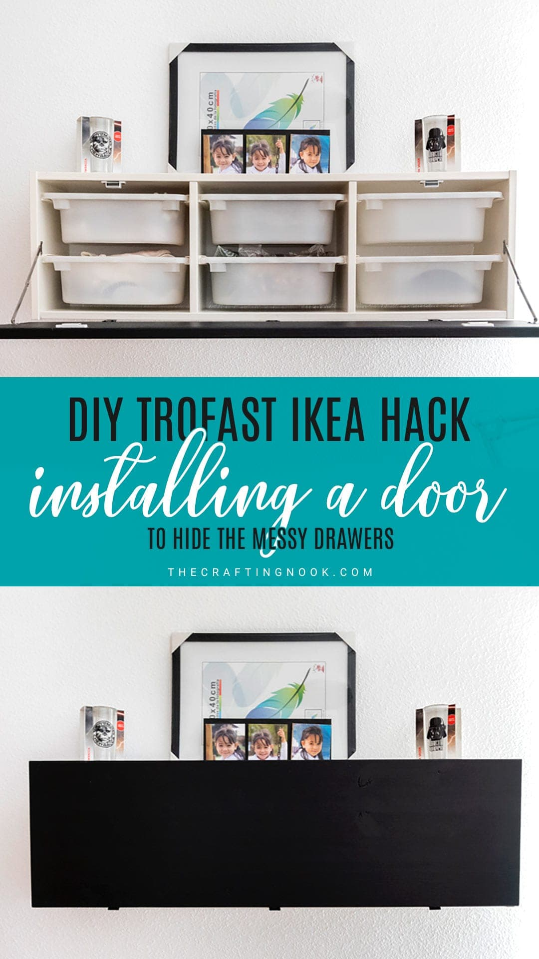 DIY Trofast IKEA Kack: Installing a door to hide the messy drawers