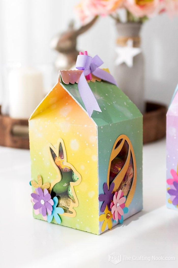 Yellow Green Milk Carton Easter Favor Box