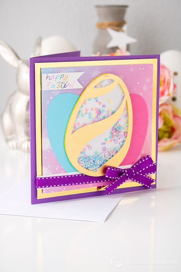 Scrapbook style Easter card with a fun shaker