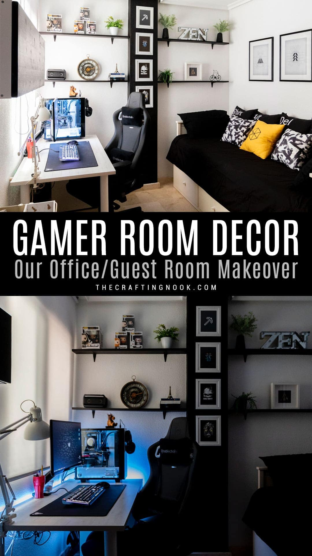 Get inspired to re-decorate your guest/ office room with our Office-Guest Gamer Room Decor Makeover
