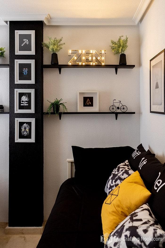 Garmer room shelving decor