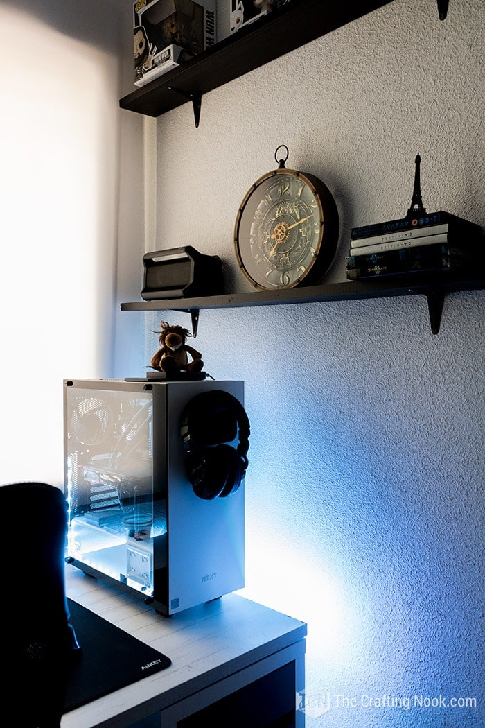 Gaming room desk shelving decor