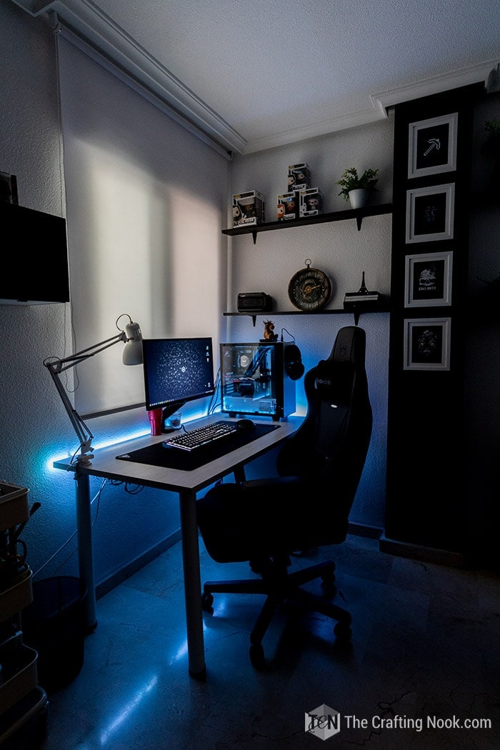 Led lights on in the gaming room decor new setup