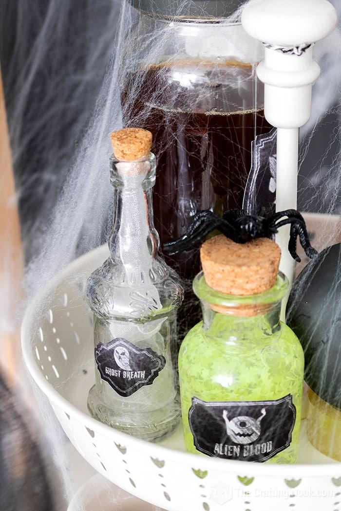 Potion ingredient Hallween bottles