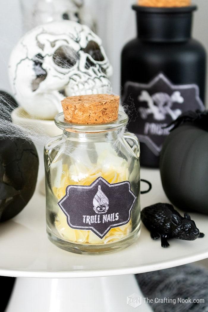 Troll Nails bottle for Halloween decor