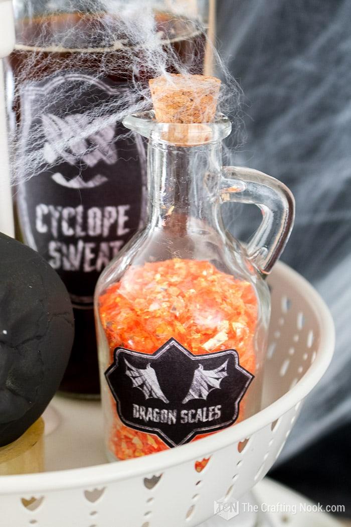 Halloween decor dragon scales bottle