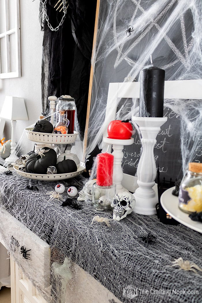 Spooky decoration of the dining buffet