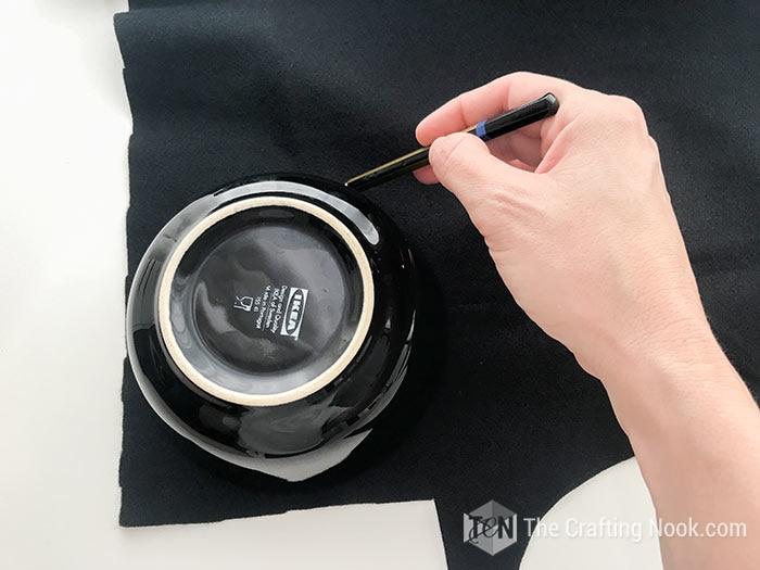 Cutting the felt circles