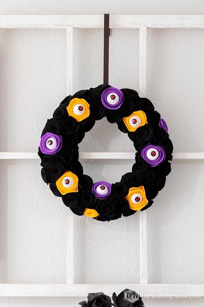A closeup of the Spooky Halloween Wreath