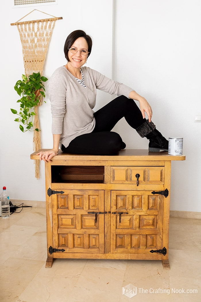 Me sitting on top of the Vintage Buffet about to makeover