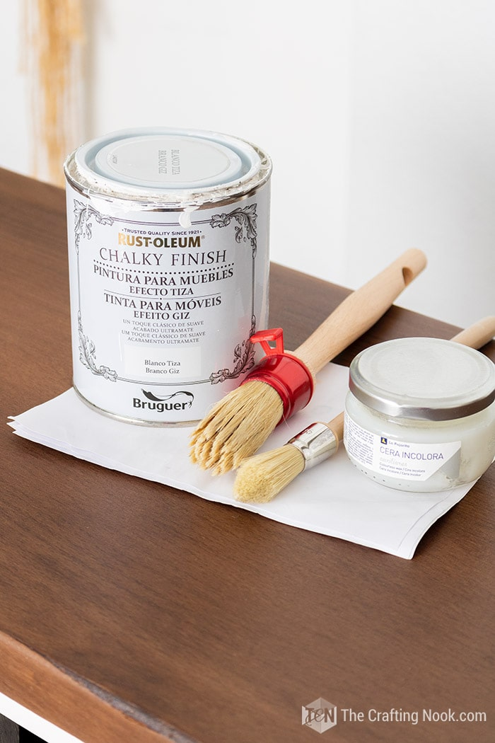 Rustoleum Chalked Paint, wax and brushes used for the vintage buffet transformation